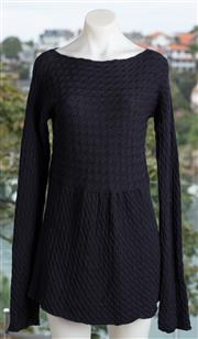 Sale 9044H - Lot 30 - A Miu Miu long sleeve cable knit dress in navy wool, size EUR 46