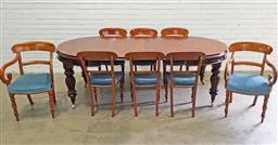 Sale 9126 - Lot 1017A - Set of Eight Early Victorian Style Mahogany Dining Chairs, including two armchairs with scrolled arms, all with rail backs, blue vel...