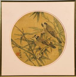Sale 9168 - Lot 488 - Framed Chinese painting on silk depicting birds and bamboo (39cm x 39cm)