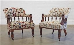 Sale 9174 - Lot 1090 - Pair of Edwardian tub chairs with spindle gallery and modern upholstery (h:75 x w:61 x d:55cm)