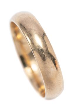 Sale 9209J - Lot 356 - A 9CT GOLD BAND; rounded 5mm wide band of plain form, size U, wt. 5.16g.