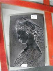 Sale 7977 - Lot 77 - Plaster Plaque Depicting St Cecillia Copied from a Bronze Relief by Donatello