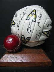 Sale 8125 - Lot 61 - Signed Soccer Ball t/w Signed Cricket Ball (2)