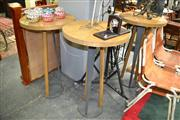 Sale 8134 - Lot 1072 - Set of Three Timber Top Pub Tables on Modernist Bases