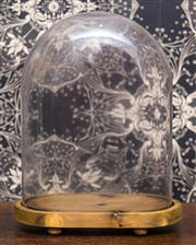Sale 8222 - Lot 25 - A glass dome on timber base