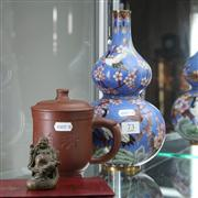 Sale 8379 - Lot 73 - Cloisonne Vase with an Earthenware Teapot & a Bronze Buddha