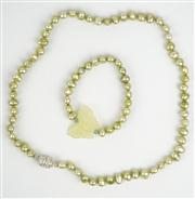 Sale 8477A - Lot 78 - A FRESHWATER LIME PEARL NECKLACE WITH MATCHING BRACELET: featuring jade butterfly pendant (necklace length 51cm; bracelet diameter 7cm)