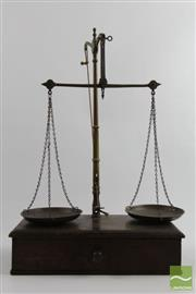 Sale 8505 - Lot 10 - Antique Cedar and Brass Scales With Weights
