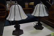Sale 8550 - Lot 1560 - Pair of Leadlight Lamps