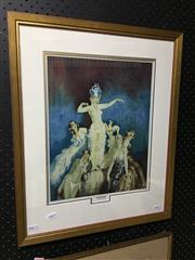 Sale 8753 - Lot 2064 - Norman Lindsay Benevolencechromolithograph, 57 x 46cm (frame), plus a decorative print After Napier Waller. -