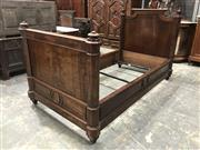 Sale 8976 - Lot 1097 - Pair of 19th Century French Walnut & Figure Veneered Single Beds, with octagonal posts and turned finials (h:120 x w:106 x l:212cm)
