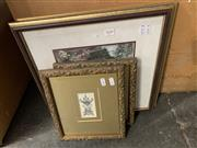 Sale 9008 - Lot 2039 - Pair of Ornately framed Early Objet DArt Prints together with Another Pair of Botanical Scene Decorative Prints -
