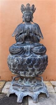 Sale 9040H - Lot 105 - A fine quality old bronze Buddha statue displaying a characteristic aged patina 1.4m height