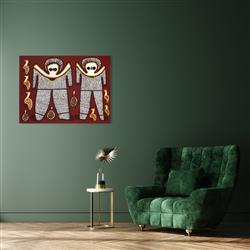 Sale 9092A - Lot 5085 - Lily Karedada (c1937 - ) - Two Wandjina, 2003 90 x 120 cm (stretched and ready to hang)
