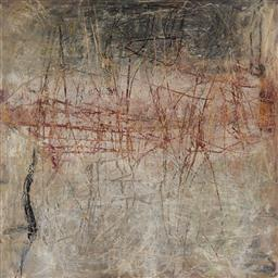 Sale 9141 - Lot 511 - Jenny Sages (1933 - ) Substrata II, 1997 oil on board 82 x 82 cm signed dated and inscribed verso