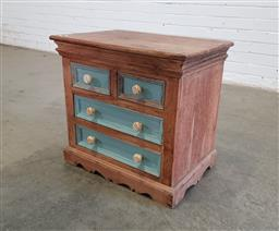 Sale 9151 - Lot 1166 - Hardwood bedside chest of 4 drawers (h:55 x w:60 x d:40cm)