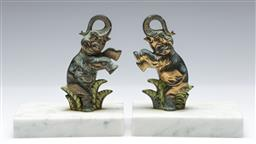 Sale 9164 - Lot 229 - A Pair of art deco brass elephant themed bookends (H:12cm) (some chips to marble)