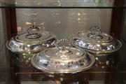 Sale 7953 - Lot 90 - 3 Silver Plated Lidded Entree Dishes