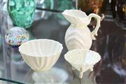 Sale 8276 - Lot 11 - Belleek Green Stamp Shell Form Tea Wares