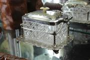 Sale 8339 - Lot 51 - Silver Plated & Cut Crystal Lidded Hinged Container