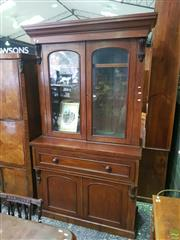 Sale 8617 - Lot 1014 - Victorian Mahogany Secretaire Bookcase, with two arched glass panel doors, above a secretaire drawer & two panel doors
