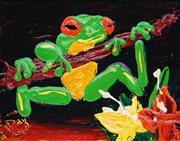 Sale 8791 - Lot 593 - Dean Vella (1958 - ) - Green Tree Frog in Flowers 19 x 24cm