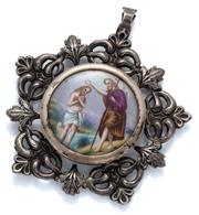 Sale 9046 - Lot 593 - AN ANTIQUE SILVER AND CERAMIC RELIGIOUS PLAQUE/ MEDALLION; 43mm round hand coloured porcelain plaque depicting Jesus being baptised...