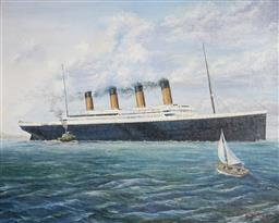 Sale 9099A - Lot 5051 - Michael Searle (1949 - ) - Titanic Docking, Southampton 60 x 75 cm (frame: 78 x 93 x 3 cm)
