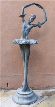 Sale 9040H - Lot 106 - A cast iron ballerina with a weathered patina 1.15m height