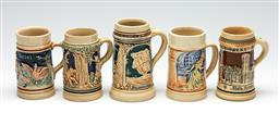 Sale 9255S - Lot 30 - A matched set of 5 German miniature steins Height 10cm-12cm