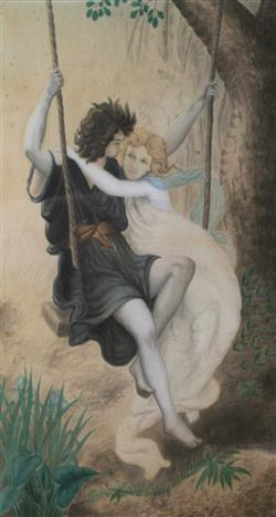Sale 7919 - Lot 567 - European School - Lovers on a Swing, Pencil and Watercolour, 41 x 23cm, Dated Lower Right 1876