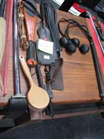 Sale 7926A - Lot 1733 - Discipline implements including paddles, leather whip, and hairbrush