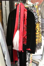 Sale 8169 - Lot 2251 - A CHINESE BLACK AND RED VELVET OUTFIT WITH MATCHED TOP AND SHOES; pants (165/72A), jacket (165/88A), and scarf, satin top (S) shoes...