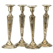 Sale 8214 - Lot 45 - American Sterling Silver Set of Four Candlesticks