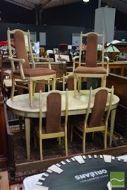 Sale 8550 - Lot 1227 - French Style Dining Setting incl. Butterfly Leaf Extension Table & Six Chairs incl. Two Carvers