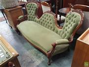 Sale 8566 - Lot 1257 - Green Upholstered Double Ended Buttoned Settee (185)