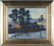 Sale 8845 - Lot 2027 - Russian School - Winter Sunset, 1996 38.5 x 48.5cm