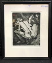 Sale 8949 - Lot 2006 - S. Pickering Nude Study 1990 aquatint ed, 5/10, 48 x 38cm (frame), signed and dated -