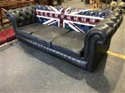 Sale 8996 - Lot 1084 - Midnight Blue Leather Chesterfield with Union Jack Decal (h:77 x w:220cm)