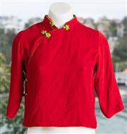 Sale 9044H - Lot 95 - An Artistic Palace childs red velvet  and green silk with teddy bear lining  kids size M