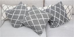 Sale 9150H - Lot 134 - Two sets of matching Chhatwol & Jonsson cushions, six in total, in geometric design, largest Width 53cm