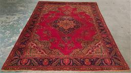 Sale 9255 - Lot 1350 - Handknotted pure wool red, gold & blue tone carpet (336 x 246cm)