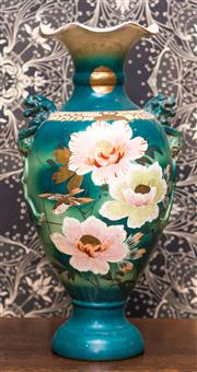 Sale 8222 - Lot 24 - A Victorian style vase with twin lion head surmounts and frilled neck, with pink peonies on teal ground, H 56cm Film Provenance; A...