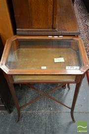 Sale 8460 - Lot 1002 - Late Victorian Satinwood & Rosewood Banded Display table, with hinged top & splayed legs joined by stretchers (some losses)