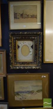Sale 8518 - Lot 2051 - 2 Paintings & an Ornamental Frame (3): Edith M.Toms Sand Dunes Watercolour SLL & Henry Rushbury Horse Guard Parade Print SLR