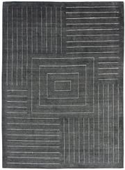Sale 8651C - Lot 33 - Colorscope Collection; Wool And Viscose - Charcoal Lines Modern Handloomed Rug, Origin: India, Size: 160 x 230cm, RRP: $1299