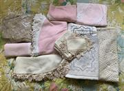 Sale 8510A - Lot 87 - A small quantity of fabric including large bedspread and table linen etc
