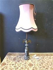 Sale 9014 - Lot 1054 - Cast Eagle Form Table Lamp, with wings spread-out, on a tapering pedestal & with pink fabric shade (h:105cm)