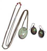 Sale 9029F - Lot 27 - PELLINI PENDANT NECKLACE AND EARRINGS; oval resin drops and pendant featuring printed gemstones to metal fittings, hand crafted by D...