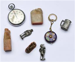 Sale 9144 - Lot 298 - Collection of small wares inc, cloisonne tape measure, stop watch, stone chop and seal and other miniatures